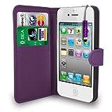 Apple Iphone 4 /4S Dark Purple Leather Wallet Flip Case Cover Pouch + Free Screen Protector & Mini Touch Stylus Pen - Dark Purple
