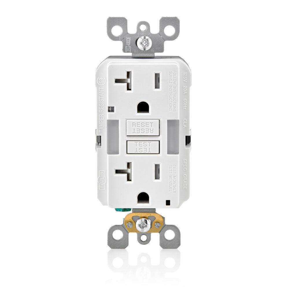 Leviton GFNL2-W Self-Test Smartlockpro Slim GFCI Tamper-Resistant Receptacle with Guidelight & LED Indicator, 20 Amp, 3 Pack, White