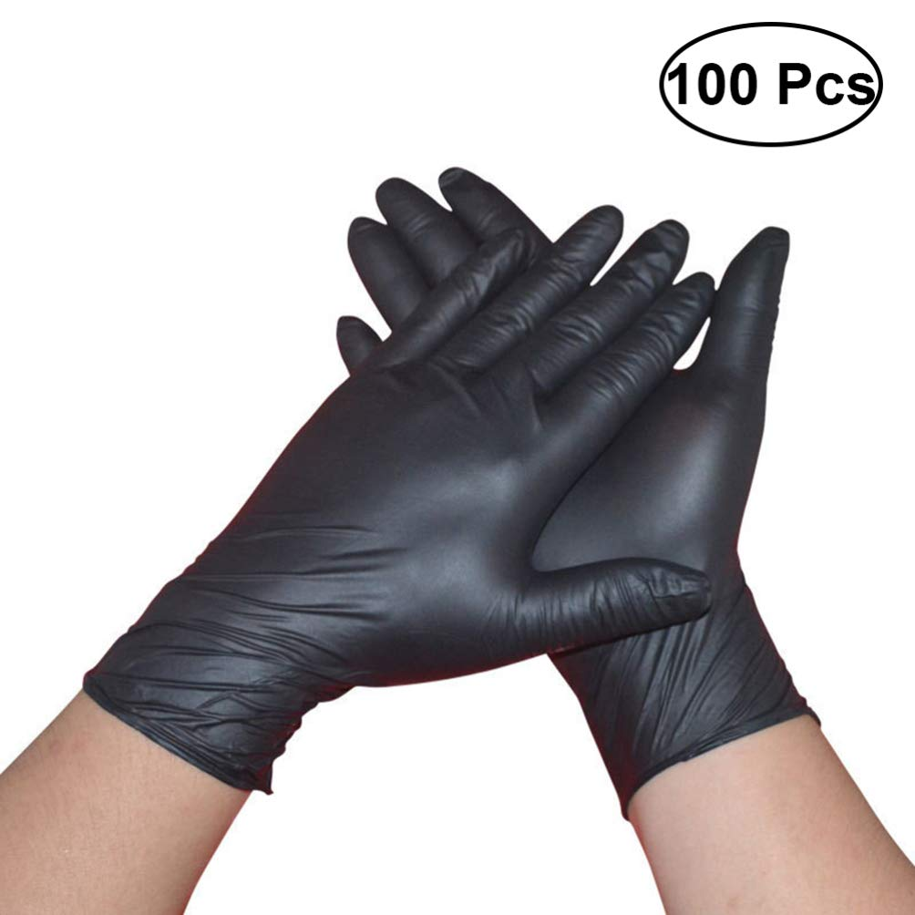 Cabilock 100 PCS L/átex Negro Polvo m/édico desechable Libre Examen Guantes de nitrilo Guantes Tatuajes Piercing L Negro