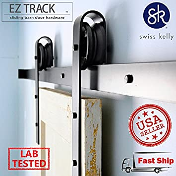 Delicieux 2 Piece EZ Track 6u00276u0026quot; Black Sliding Barn Closet Wood Door Track Set