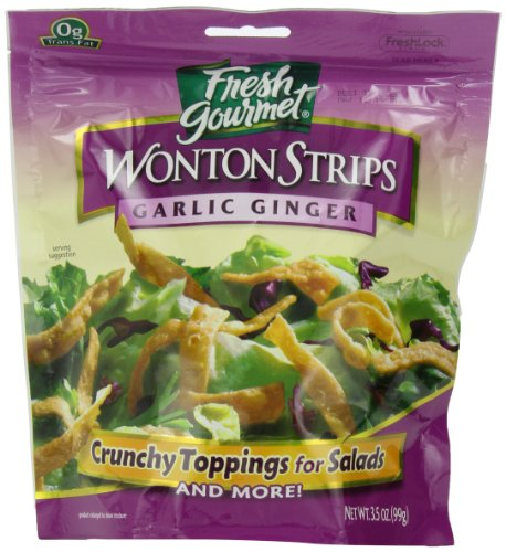 Fresh Gourmet Won Ton Strips, Garlic Ginger, 3.5 Ounce (Pack of 9)