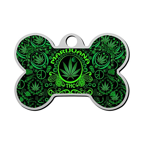 - BSARRE Personalized Pet ID Tags for Dogs & Cats Marijuana Leaf Double Sided Bone Dog Tag