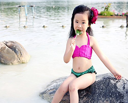 [Charming Pink 3 Piece Suit Kid Girl Swim Mermaid Tail Sea-maid Bikini Swimsuit Swimwear] (Kiddie Costume For Sale)