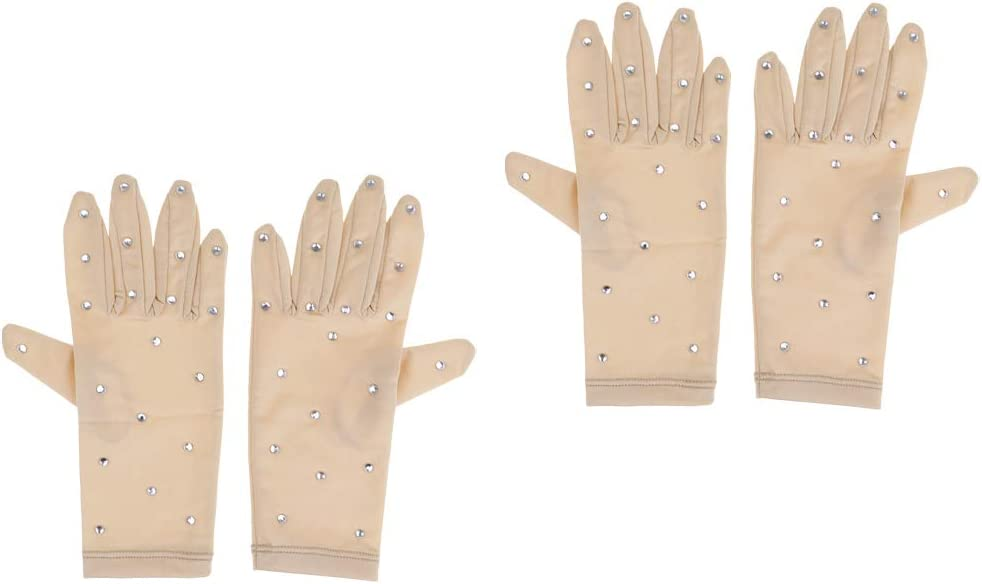 Baosity 2 Pairs Figure Staking Gloves with Rhinestones for Girl Women Performance Show