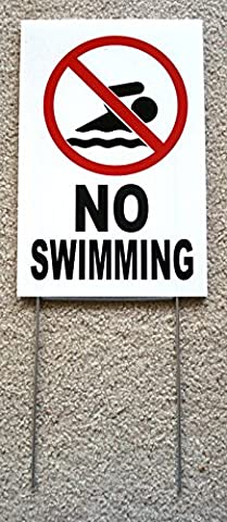 1 Pc Excited Unique No Swimming Symbol Sign Warning Board Yard Decal Beach Declare Lifeguard On Duty Pools Rules Decor Diving Danger Signs At Your Own Risk Keep Water Allowed Size 8
