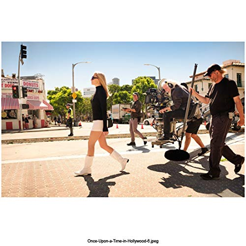 Margot Robbie 8 Inch x 10 Inch photograph Once Upon a Time. in Hollywood (2019) Walking in Street w/Camera Crew Following kn