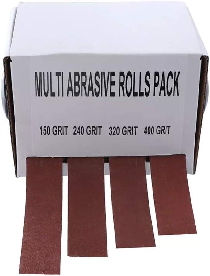 YOUNICER 4 piezas 150 a 400 granos 2.5 600 cintas de molienda de madera cintas de lija extra/íbles papel de lija caja de correa abrasiva seca rollo de tela