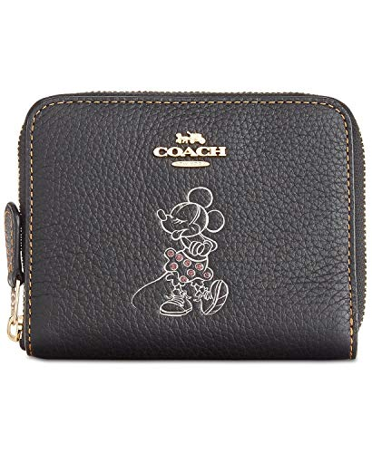 Coach Boxed Minnie Mouse Small Zip Around Leather Wallet - Black