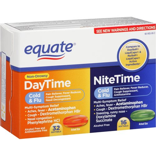 Cold Medication - Only 1 in Pack Equate DayTime NiteTime Cold & Flu 32 Day & 16 Night Softgels
