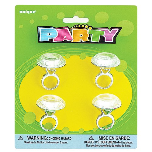 Plastic Diamond Ring Girl Party Favor, 4ct
