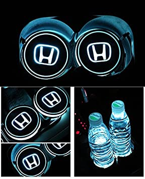 Bearfire Car Logo LED Cup Pad cup holder light USB Charging Mat Luminescent  Cup Pad LED Mat Interior Atmosphere Lamp Decoration Light (Honda)