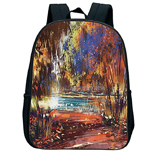 Pictures Print Design Trumpet black knapsack,Fantasy Art House Decor,Refreshing Nature Painting at Serene Pond Illusionary Perspective Swamp,Multi,for Children,Personalized Design.11.8