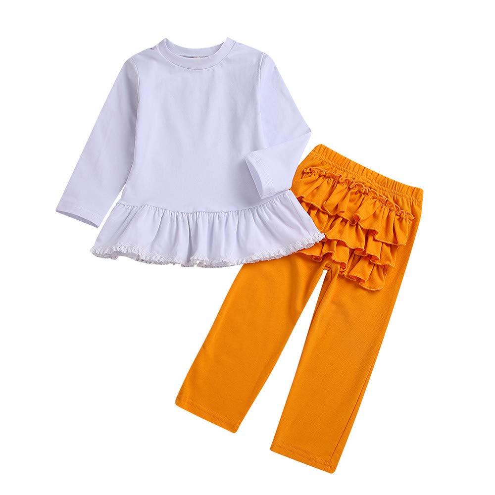 Kobay Babykleidung Mädchen Winter Langarm Solide Spitzenoberteile + Rüschenhosen Outfit Kleidung