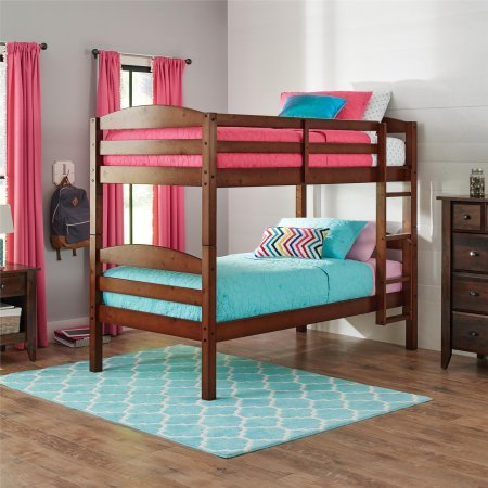 Better Homes and Gardens* Converts to 2 stand-alone Twin Over Twin Wood Bunk Bed (Bed Only) in Light - Slat Garden Bed Spring