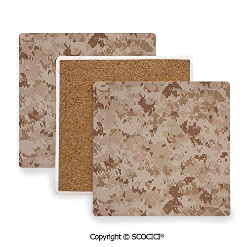 Ceramic Coasters with Cork Base, Prevent Furniture from Dirty and Scratched, Suitable for Kinds of Mugs and Cups,Camo,US Marine Desert Marpat Texture BackgSquare in Brown,3.9