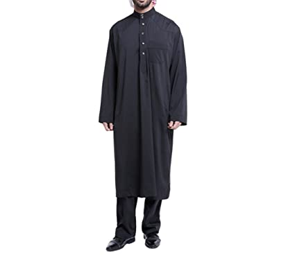 2184584f5301 zhxinashu Men s Muslim Long Sleeve Thobe Loose Kaftan Dubai Clothing ...