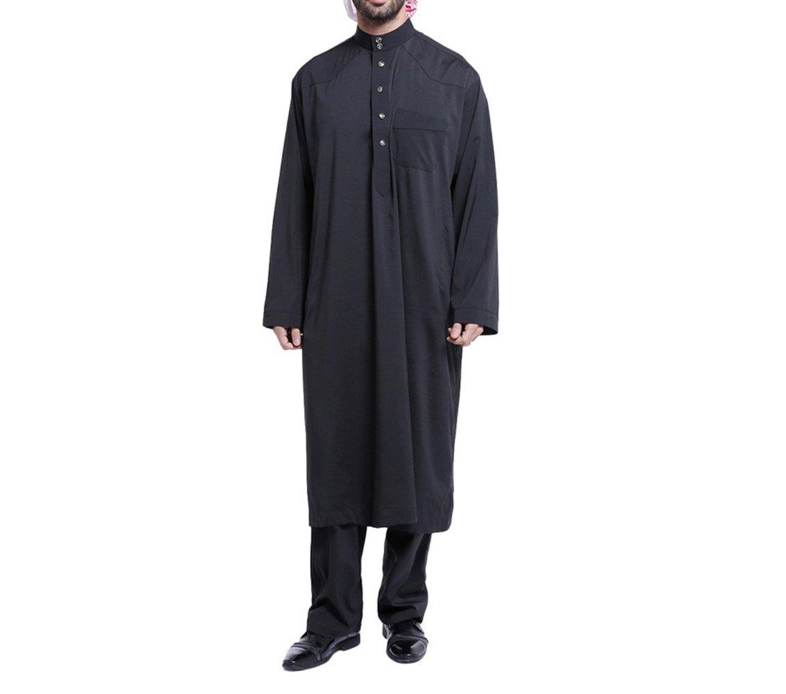 zhxinashu Men's Muslim Thobe Loose Kaftan Dubai Clothing with Pants,Black,L