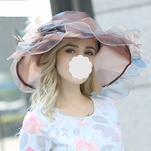 DDSS Summer Hat, Hat Party Elegant Lady Big Flower Design Breathable Sweatbands Adjustable Leisure Packable, 5 Colors Optional /-/ (Color : Coffee) ()