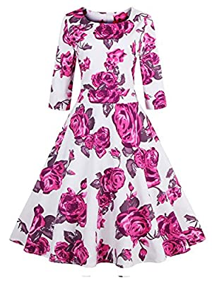 Babyonline Floral Vintage Women Dresses Half Sleeve 1950s Rockabilly Party Gown