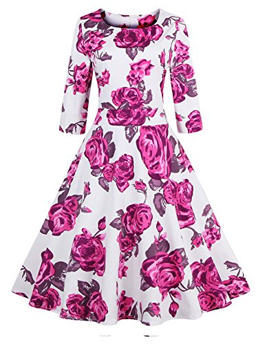 Babyonline-Floral-Vintage-Women-Dresses-Half-Sleeve-1950s-Rockabilly-Party-Gown