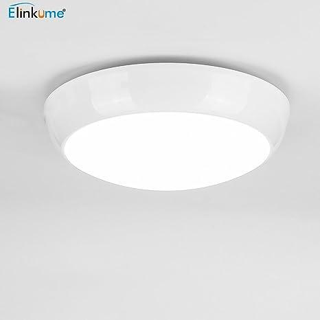 ELINKUME Round Ceiling Light Waterproof IP65,Cool White 6500K,1500 Lumen for Bathroom,Bedroom. (12W)