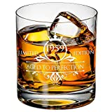 1959 60th Birthday Whiskey Glass for Men and Women - Vintage Funny Anniversary Gift Idea for Him, Her, Husband, Wife – 60 Year Old Gifts for Mom, Dad - Party Favors, Decorations - 11 oz