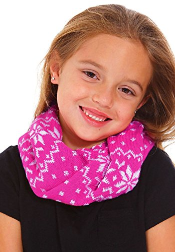Kids Winter Neck Warmer Boys Girls Snowflake Patterned Knit Infinity Scarf