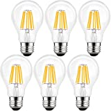 LETO 6 Pack A19 8W Dimmable Edison Style Filament LED Light Bulb, UL Listed 80W Equivalent, Soft White 2700k, E26 base