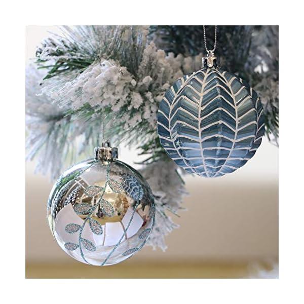 Valery Madelyn Palle di Natale 16 Pezzi 8cm Palle di Natale, Winter Wishes Argento e Blu Infrangibile Palla di Natale Ornamenti Decorazione per la Decorazione Dell'Albero di Natale 5 spesavip