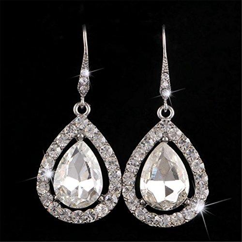 P.phoebus Women's Cubic Zirconia Crystal Wedding Tear Drop Earring Silver-Tone - About Sterling Silver Rhinestone Beads
