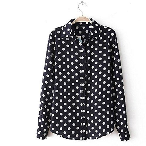 TLX-Group Summer Casual Women Blouses Vintage Polka Dot Chiffon Blouses Long Sleeve Lapel Shirts Large