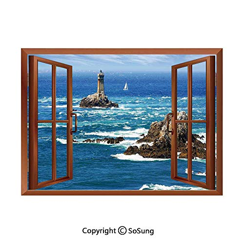 Lighthouse Removable Wall Sticker/Wall Mural,Daytime Lighthouse Wavy Ocean View and Clear Sky Rocky Islands Sailboat Decorative Creative Open Window design Wall Decor,24