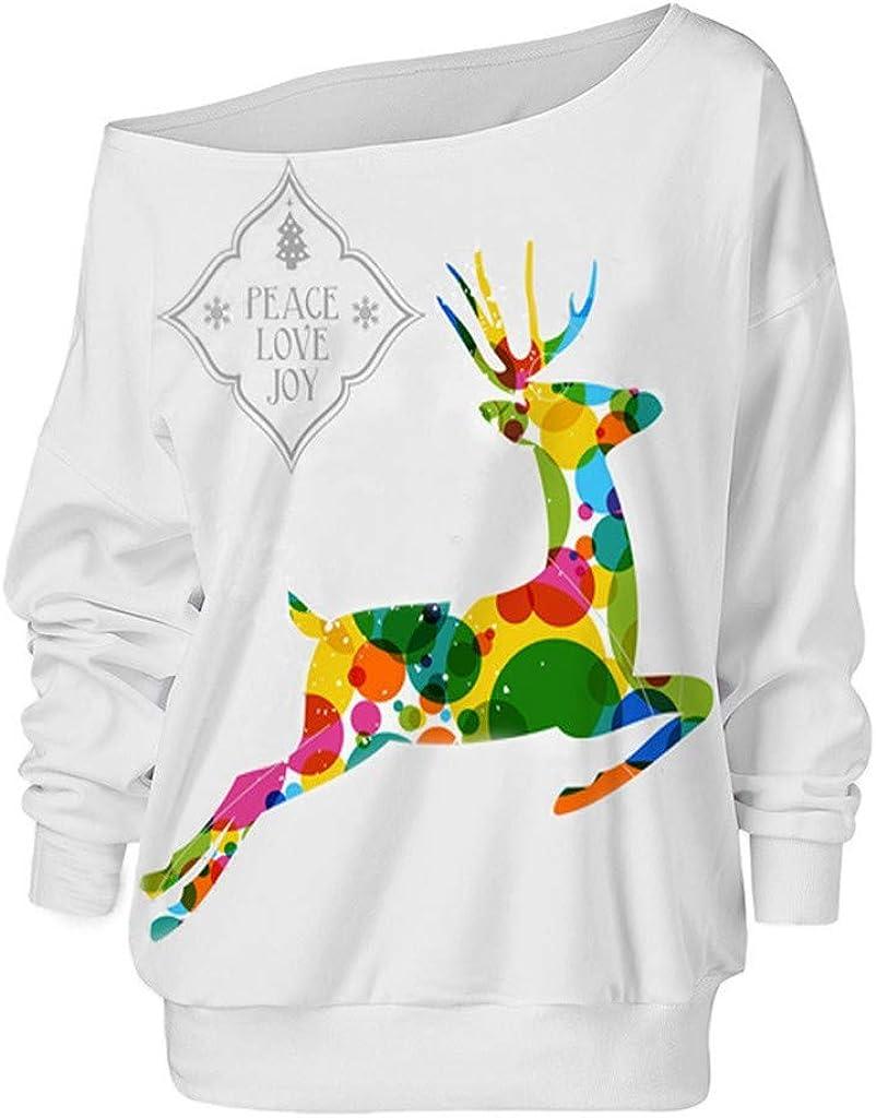 Women Xmas Christmas Long Sleeve Wapiti Pullover Sweatshirt S-4XL Sweatshirt Gray