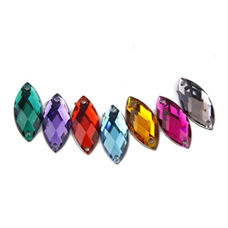 e2ff20ddd128 100pcs Multicolores Adornos Accesorios de Cristal Artificial para Decoración  de Artesanía Costura  Amazon.es  Hogar