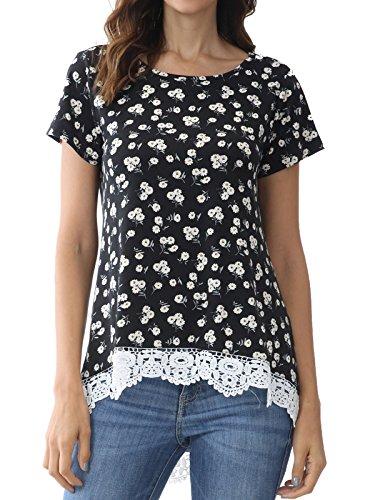 Bzonly Womens Flower Print Tunic Top Lace Hem T Shirt Summer Short Sleeve Tee Top (X-Large, Black) (Top Flower Hem)