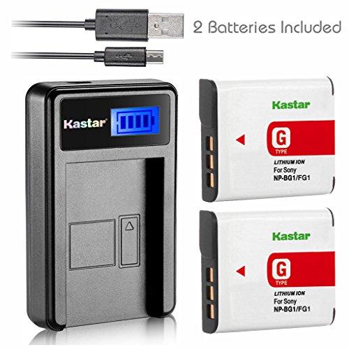 Kastar Battery (X2) & LCD Slim USB Charger for Sony NP-BG1 NPBG1 NP-FG1 NPFG1 and Cyber-shot DSC-W120 W150 W220 DSC-H3 H7 H9 H10 H20 H50 H55 H70 DSC-HX5V DSC-HX7V DSC-HX9V DSC-HX10V DSC-HX30V by Kastar (Image #1)