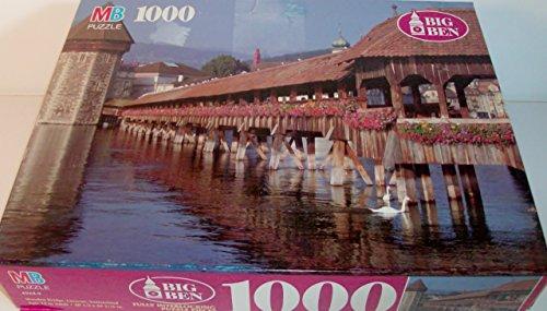 Vintage Big Ben Wooden Bridge Lucerne Switzerland 1000 Piece Puzzle by Milton Bradley