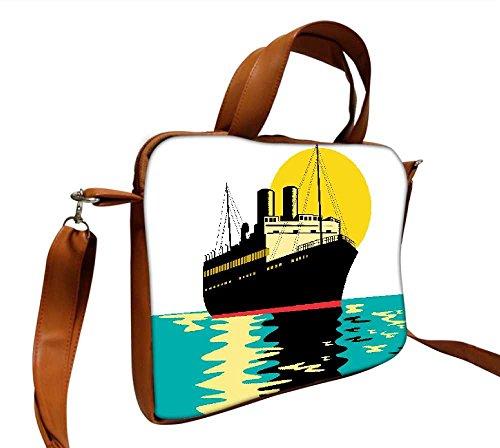 Snoogg Passagier Cargo Schiff 38,1cm Zoll auf 39,4cm Zoll auf 39,6cm Zoll Kunstleder Laptop Notebook Schuber Sleeve, der Fall mit und Schultergurt für MacBook Pro Acer Asus Dell HP Sony Toshiba