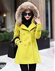 GS~LY Women's Casual/Daily Simple Coat,Solid Shirt Collar Long Sleeve Winter Red / Yellow Wool / Polyester Thick , fuchsia-2xl , fuchsia-2xl
