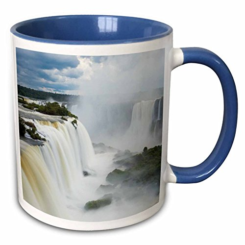 3dRose Danita Delimont - Waterfall - Iguacu, Waterall, Cataratta Foz do Iguacu, Parana, Brazil - 15oz Two-Tone Blue Mug - Iguacu Waterfalls