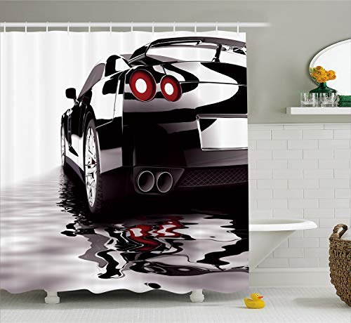 Ambesonne Cars Shower Curtain, Modern Black Car with Water Reflection Prestige Fast Engine Performance Lifestyle, Fabric Bathroom Decor Set with Hooks, 75 inches Long, Black Red