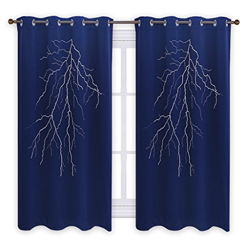 PONY DANCE Lightning Cutout Curtain - Hollow Out Blackout Drapes Home Decorative Laser Cutting Panel Grommet Blind for Kid's Bedroom Window Treatments, 52'' W x 63'' L, Navy Blue, 1 Piece by PONY DANCE