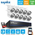 SANNCE Home Security Camera System 16 Channel 1080P Lite DVR with 1TB HDD and (10) HD 1280TVL 720P Outdoor Night Vision Bullet Surveillance Cameras, Playback, Instant Email Alert