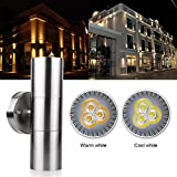 Outdoor Wall Sconce LED Lights-Modern Waterproof Up Down Stainless Steel Cylinder LED Wall Light Fixtures Dual Head Wall Lamp With GU10 LED bulb for Courtyard Garden Porch Corridor (Warm White)