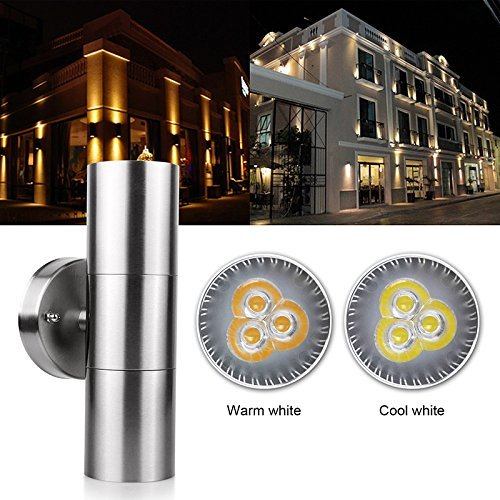 (Outdoor Wall Sconce LED Lights-Modern Waterproof Up Down Stainless Steel Cylinder LED Wall Light Fixtures Dual Head Wall Lamp With GU10 LED bulb for Courtyard Garden Porch Corridor (Warm White))