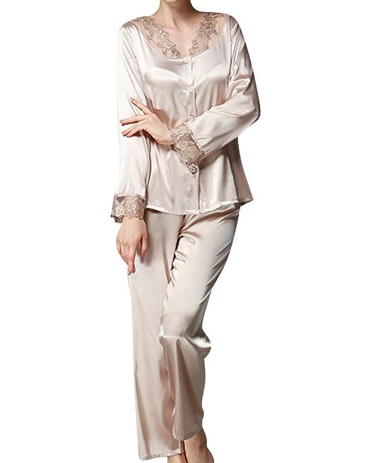 Mujer Pijamas Set Satén Camisones De Manga Larga Pantalones Largos Elegantes: Amazon.es: Ropa y accesorios