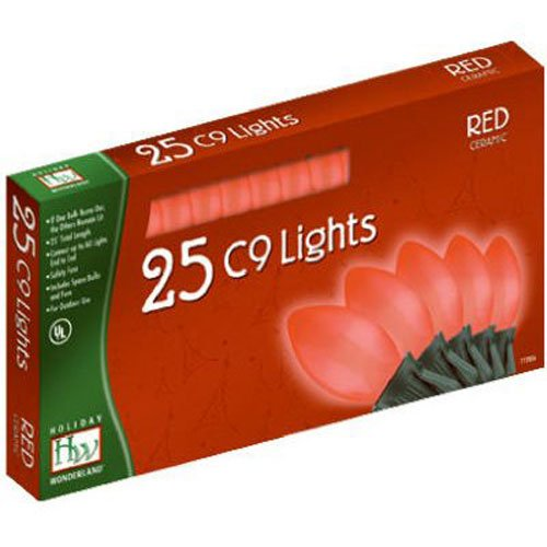Holiday Wonderland 2924R-88 25-Count C9 Christmas Light Set, Red by Noma/Inliten