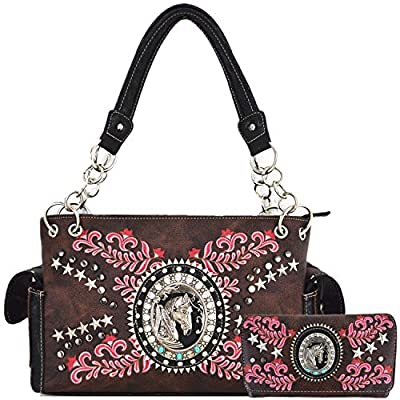 Western Cowgirl Style Horse Country Purse Concealed Carry Handbags Totes Shoulder Bag Wallet Set Brown