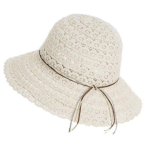 ummer Beach Lace Hat Foldable Wide Brim Sun Cap (Beige) (Urban Sun Cover)