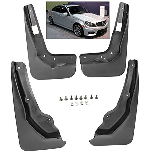 Splash Guards Full Set Front Rear 2012-2014 Mercedes Benz C Class Mud Flaps W204 ()